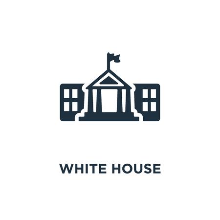 Icono de la Casa Blanca. Ilustración de vector relleno negro. Símbolo de la Casa Blanca sobre fondo blanco. Se puede utilizar en la web y en dispositivos móviles.