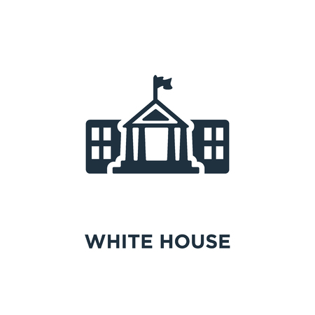 White House icon. Black filled vector illustration. White House symbol on white background. Can be used in web and mobile.