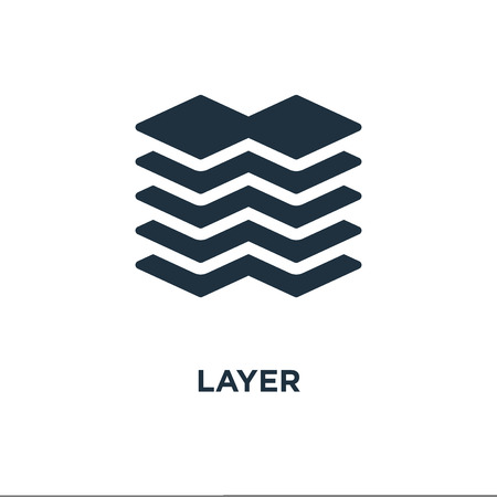 Layer icon. Black filled vector illustration. Layer symbol on white background. Can be used in web and mobile.