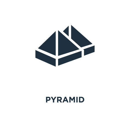 Pyramid icon. Black filled vector illustration. Pyramid symbol on white background. Can be used in web and mobile.
