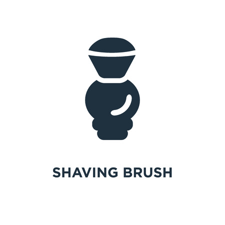 Shaving Brush icon. Black filled vector illustration. Shaving Brush symbol on white background. Can be used in web and mobile.
