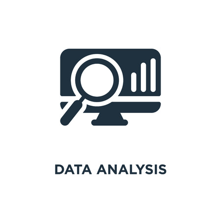 Data analysis icon. Black filled vector illustration. Data analysis symbol on white background. Can be used in web and mobile.