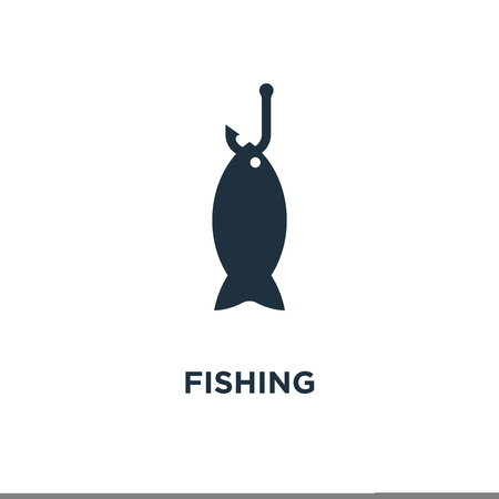 Fishing icon. Black filled vector illustration. Fishing symbol on white background. Can be used in web and mobile. Ilustração