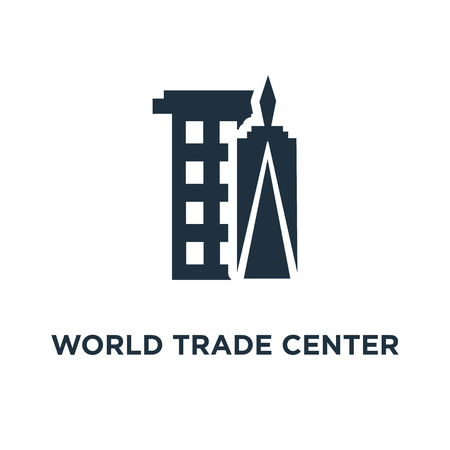 World trade center icon. Black filled vector illustration. World trade center symbol on white background. Can be used in web and mobile.