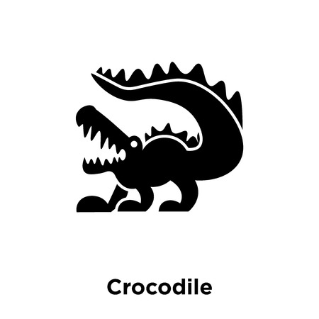 Crocodile icon vector isolated on white background, logo concept of Crocodile sign on transparent background, filled black symbol