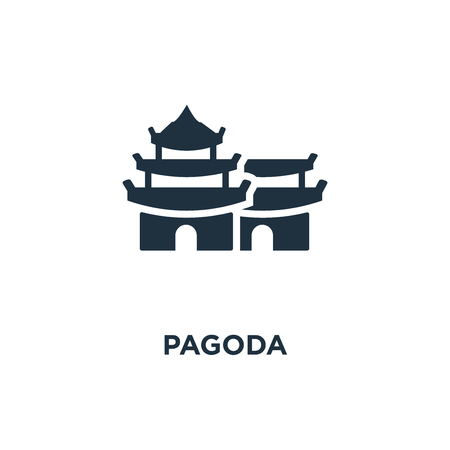 Pagoda icon. Black filled vector illustration. Pagoda symbol on white background. Can be used in web and mobile. Illustration