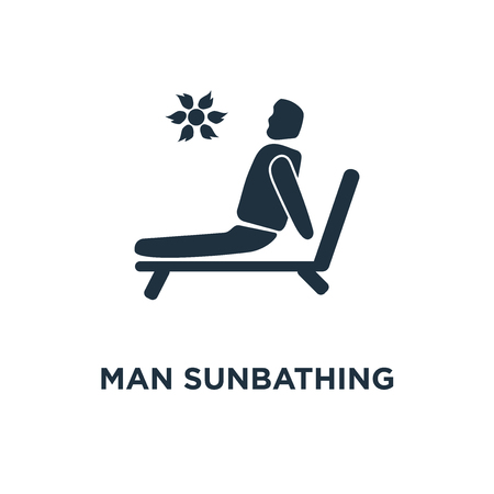 Man Sunbathing icon. Black filled vector illustration. Man Sunbathing symbol on white background. Can be used in web and mobile. Imagens - 112280307