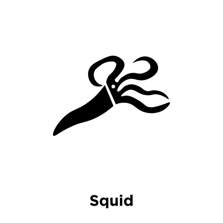 Squid icon vector isolated on white background, logo concept of Squid sign on transparent background, filled black symbol