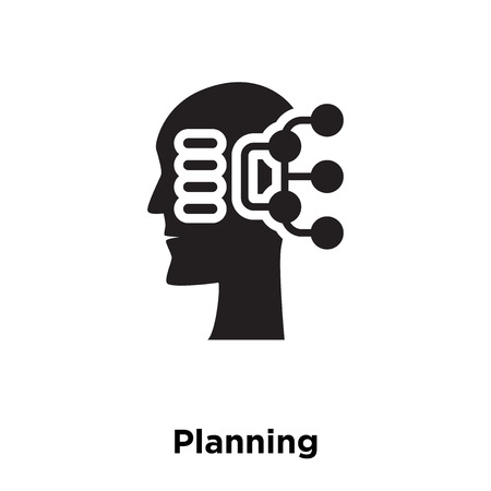 Planning icon vector isolated on white background, logo concept of Planning sign on transparent background, filled black symbol