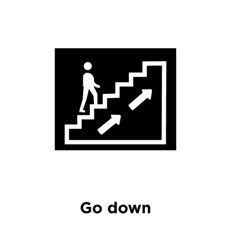 Go down icon vector isolated on white background, logo concept of Go down sign on transparent background, filled black symbol