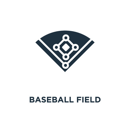 Baseball field icon. Black filled vector illustration. Baseball field symbol on white background. Can be used in web and mobile.