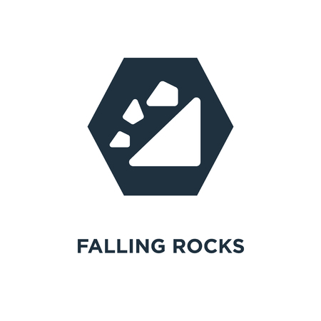 Falling rocks icon. Black filled vector illustration. Falling rocks symbol on white background. Can be used in web and mobile. Vettoriali
