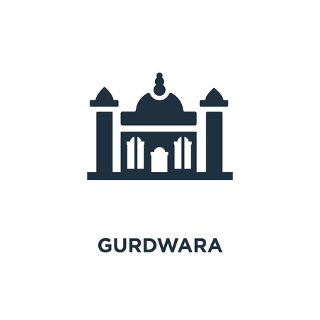 Gurdwara icon. Black filled vector illustration. Gurdwara symbol on white background. Can be used in web and mobile.
