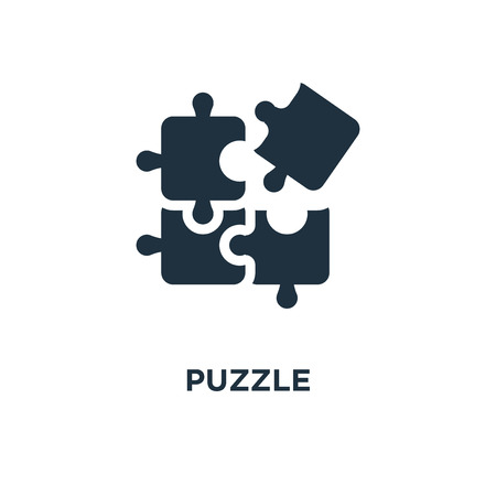 Puzzle icon. Black filled vector illustration. Puzzle symbol on white background. Can be used in web and mobile.
