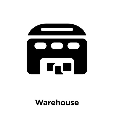 Warehouse icon vector isolated on white background, logo concept of Warehouse sign on transparent background, filled black symbol