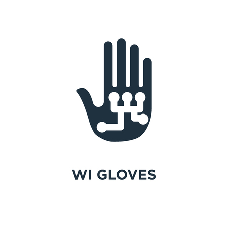 Wired gloves icon. Black filled vector illustration. Wired gloves symbol on white background. Can be used in web and mobile.