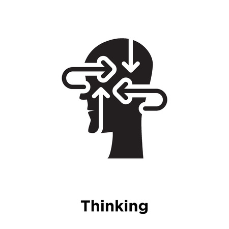 Thinking icon vector isolated on white background, logo concept of Thinking sign on transparent background, filled black symbol Stock Illustratie