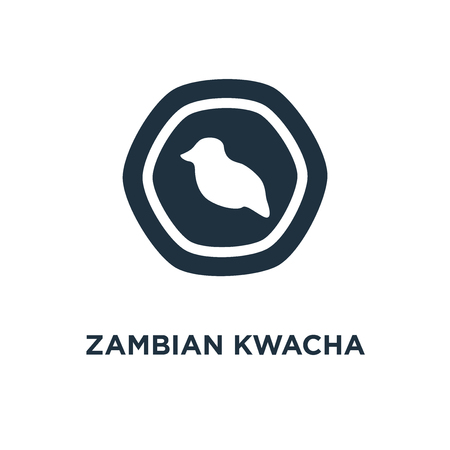 Zambian Kwacha icon. Black filled vector illustration. Zambian Kwacha symbol on white background. Can be used in web and mobile. 向量圖像