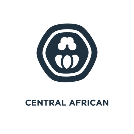Central African Franc icon. Black filled vector illustration. Central African Franc symbol on white background. Can be used in web and mobile.