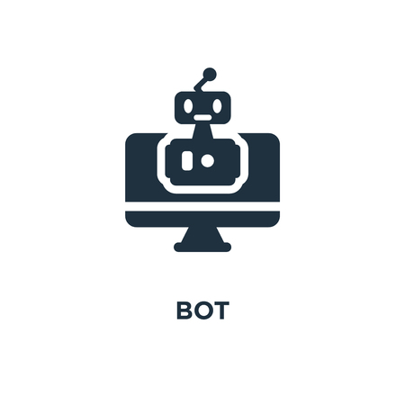 Bot icon. Black filled vector illustration. Bot symbol on white background. Can be used in web and mobile. Иллюстрация