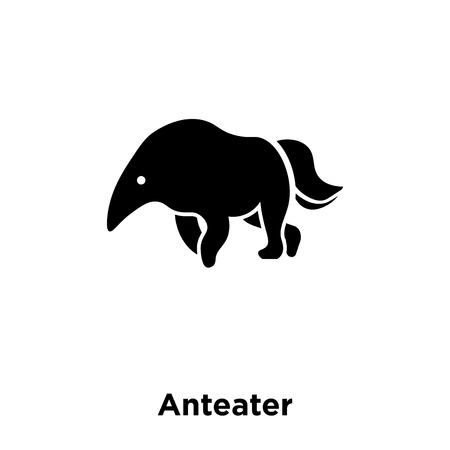 Anteater icon vector isolated on white background, logo concept of Anteater sign on transparent background, filled black symbol Illustration