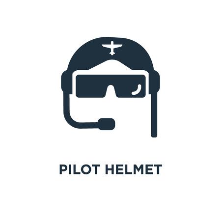 Icona del casco pilota. Illustrazione vettoriale riempita di nero. Simbolo del casco pilota su sfondo bianco. Può essere utilizzato in web e mobile.