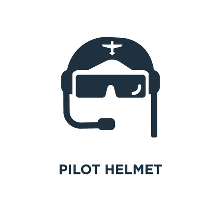 Pilot Helmet icon. Black filled vector illustration. Pilot Helmet symbol on white background. Can be used in web and mobile.