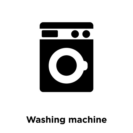 Washing machine icon vector isolated on white background, logo concept of Washing machine sign on transparent background, filled black symbol