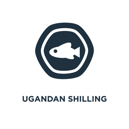 Ugandan Shilling icon. Black filled vector illustration. Ugandan Shilling symbol on white background. Can be used in web and mobile. 向量圖像