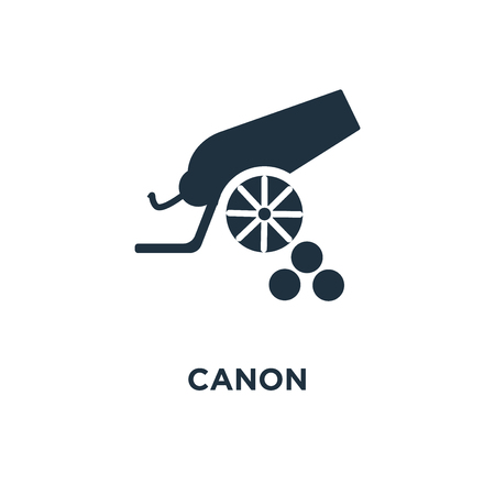 Canon icon. Black filled vector illustration. Canon symbol on white background. Can be used in web and mobile.