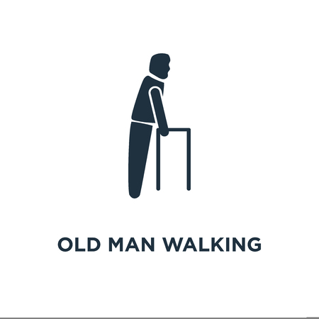 Old Man Walking icon. Black filled vector illustration. Old Man Walking symbol on white background. Can be used in web and mobile. Çizim