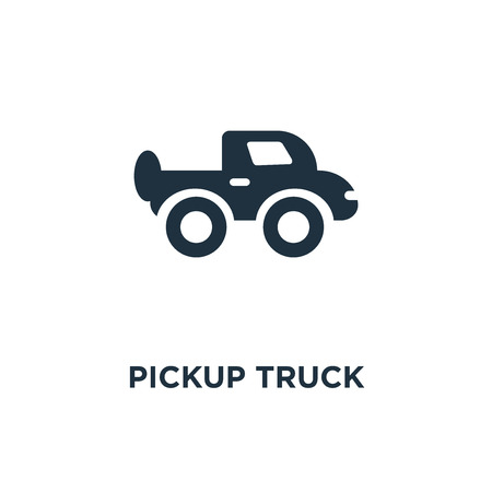 Pickup truck icon. Black filled vector illustration. Pickup truck symbol on white background. Can be used in web and mobile.