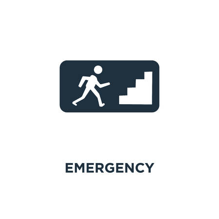 Emergency sign icon. Black filled vector illustration. Emergency sign symbol on white background. Can be used in web and mobile.