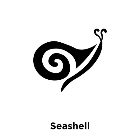 Seashell icon vector isolated on white background, logo concept of Seashell sign on transparent background, filled black symbol