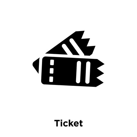 Ticket icon vector isolated on white background, logo concept of Ticket sign on transparent background, filled black symbol Illustration