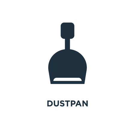 Dustpan icon. Black filled vector illustration. Dustpan symbol on white background. Can be used in web and mobile. Illustration
