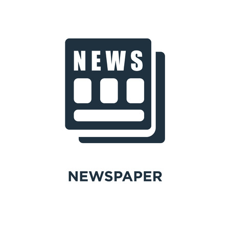 Newspaper icon. Black filled vector illustration. Newspaper symbol on white background. Can be used in web and mobile. Ilustración de vector
