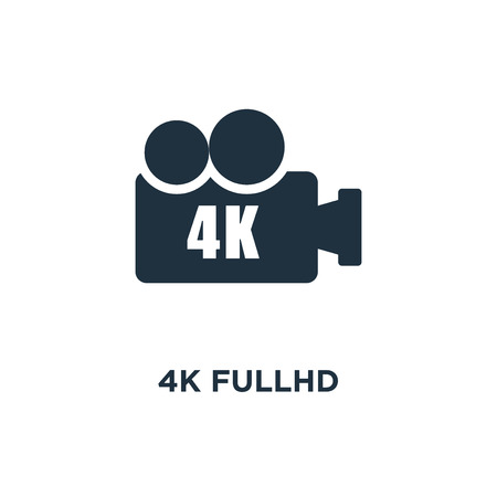4K FullHD icon. Black filled vector illustration. 4K FullHD symbol on white background. Can be used in web and mobile.