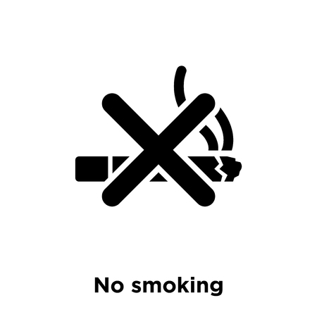 No smoking icon vector isolated on white background, logo concept of No smoking sign on transparent background, filled black symbol