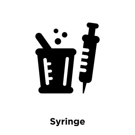 Syringe icon vector isolated on white background, logo concept of Syringe sign on transparent background, filled black symbol