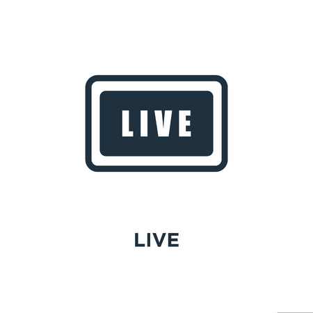 Live icon. Black filled vector illustration. Live symbol on white background. Can be used in web and mobile.