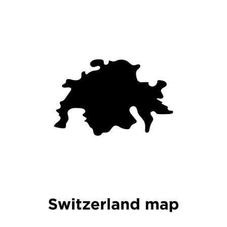 Switzerland map icon vector isolated on white background, logo concept of Switzerland map sign on transparent background, filled black symbol