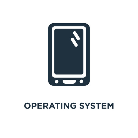 Operating System icon. Black filled vector illustration. Operating System symbol on white background. Can be used in web and mobile.