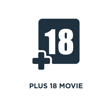 Plus 18 Movie icon. Black filled vector illustration. Plus 18 Movie symbol on white background. Can be used in web and mobile.