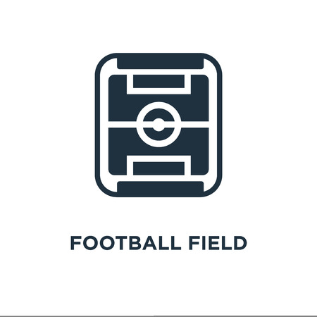 Football field icon. Black filled vector illustration. Football field symbol on white background. Can be used in web and mobile. 向量圖像