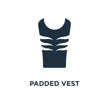 Padded Vest icon. Black filled vector illustration. Padded Vest symbol on white background. Can be used in web and mobile. Stock Illustratie