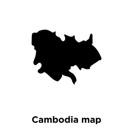 Cambodia map icon vector isolated on white background, logo concept of Cambodia map sign on transparent background, filled black symbol