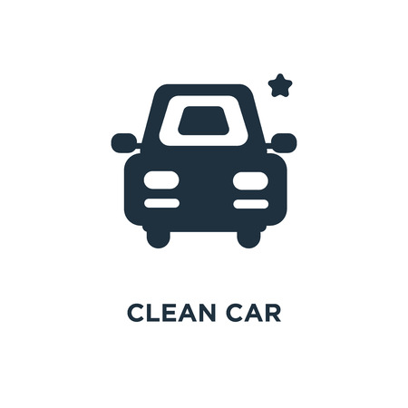 Clean car icon. Black filled vector illustration. Clean car symbol on white background. Can be used in web and mobile. Stock Vector - 112357882