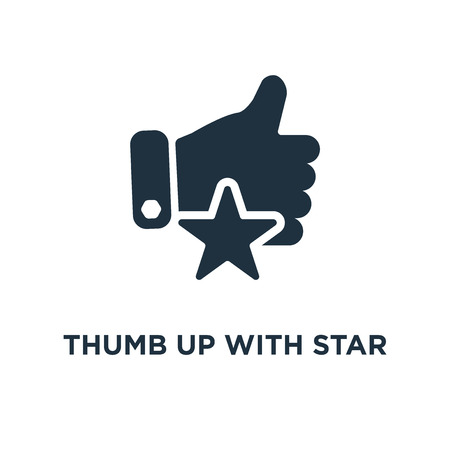 Thumb up with star icon. Black filled vector illustration. Thumb up with star symbol on white background. Can be used in web and mobile. Ilustracja