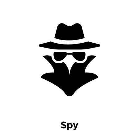 Spy icon vector isolated on white background, logo concept of Spy sign on transparent background, filled black symbol Stock Illustratie